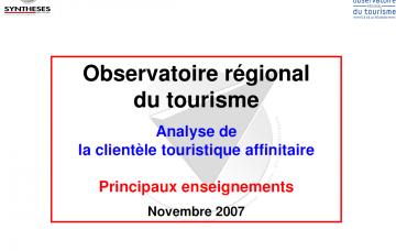 Analyse de la clientèle touristique affinitaire -  Principaux enseignements