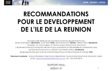 Recommandations pour le développement de l'île de La Réunion